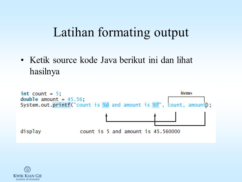 Latihan formating output
