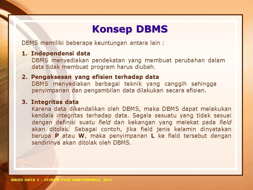 Konsep DBMS DBMS memiliki beberapa keuntungan antara lain :