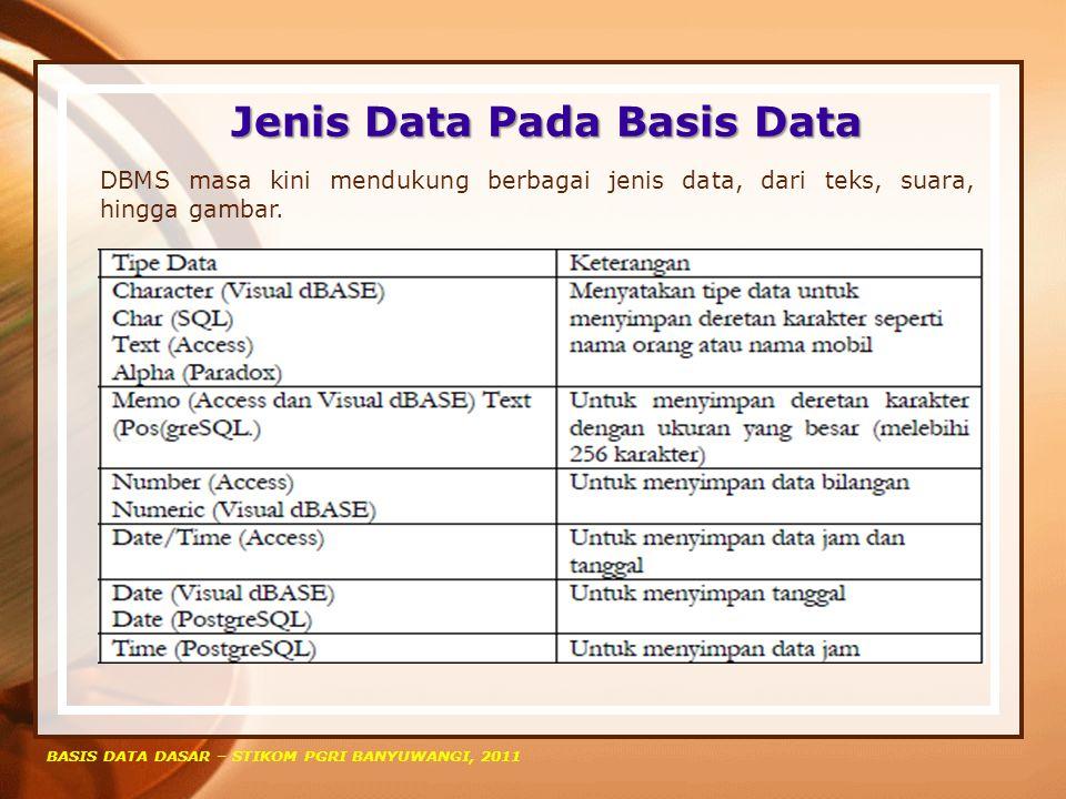 Jenis Data Pada Basis Data
