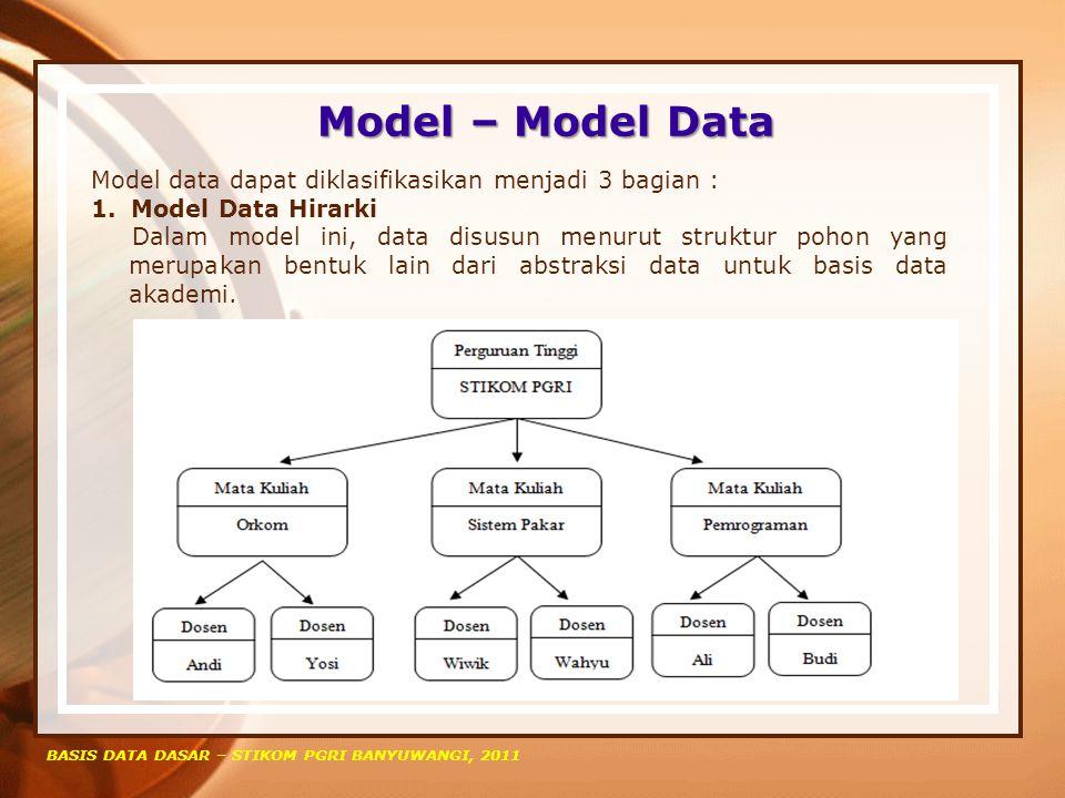 Model – Model Data Model data dapat diklasifikasikan menjadi 3 bagian : Model Data Hirarki.