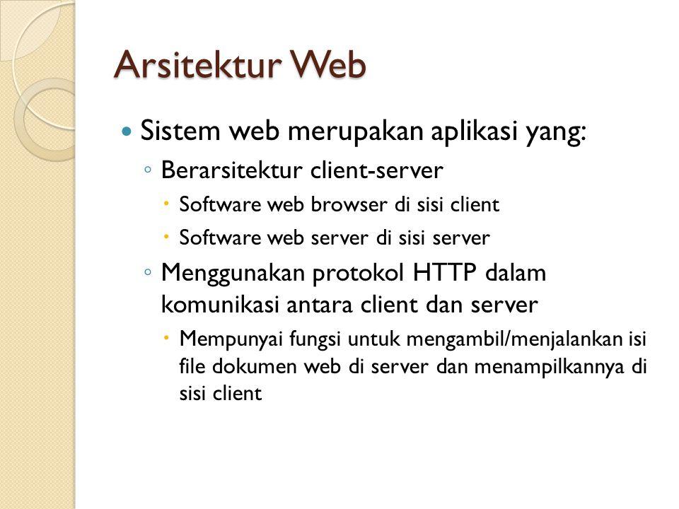 Arsitektur Web Sistem web merupakan aplikasi yang: