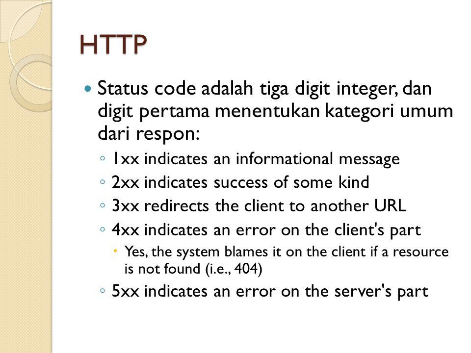 HTTP Status code adalah tiga digit integer, dan digit pertama menentukan kategori umum dari respon: