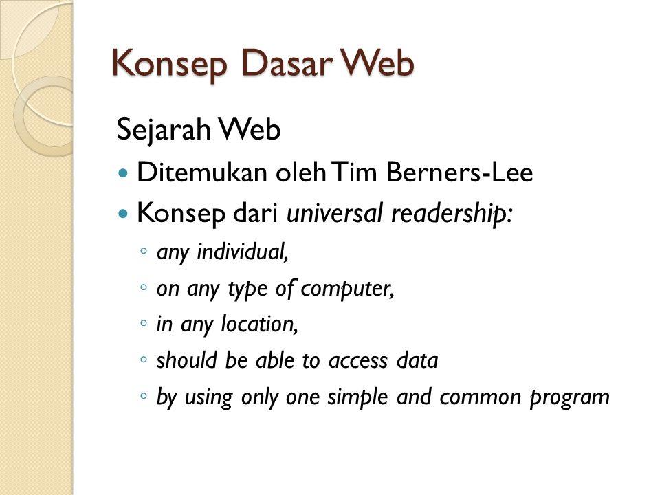 Konsep Dasar Web Sejarah Web Ditemukan oleh Tim Berners-Lee