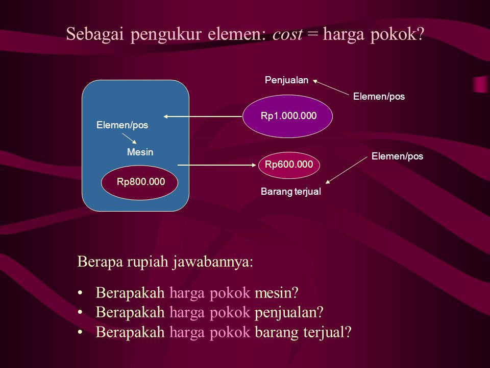 Sebagai pengukur elemen: cost = harga pokok