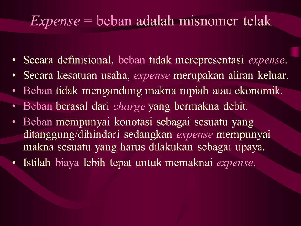 Expense = beban adalah misnomer telak