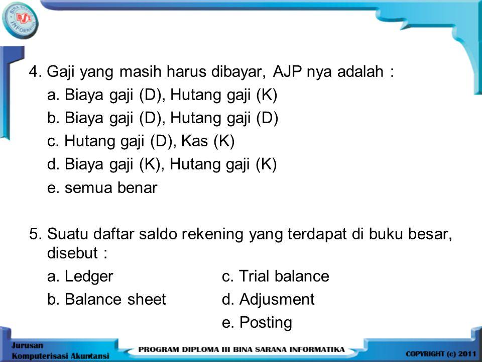 4. Gaji yang masih harus dibayar, AJP nya adalah :