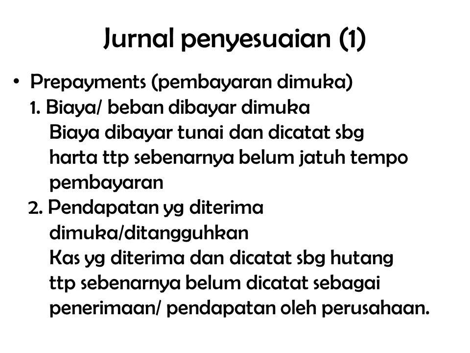 Jurnal penyesuaian (1) Prepayments (pembayaran dimuka)