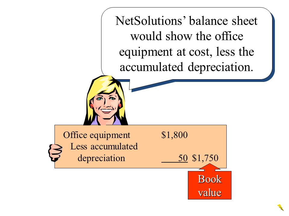 NetSolutions' balance sheet would show the office equipment at cost, less the accumulated depreciation.