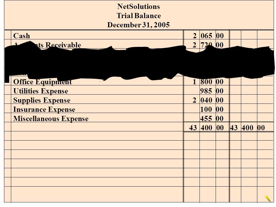 NetSolutions Trial Balance. December 31, 2005. Cash 2 065 00. Accounts Receivable 2 720 00. Supplies 760 00.