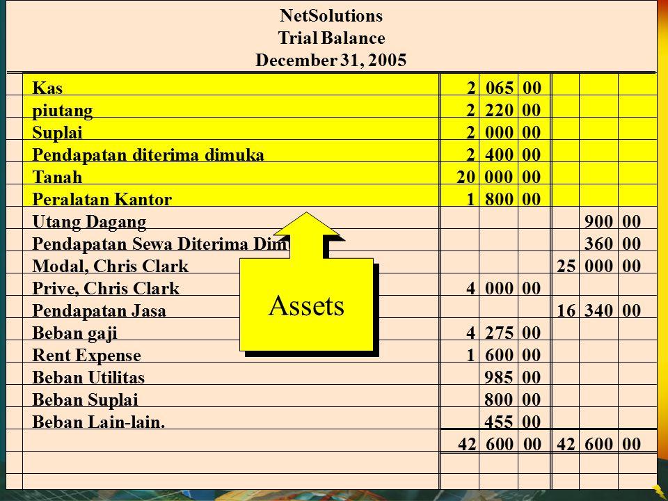 Assets NetSolutions Trial Balance December 31, 2005 Kas 2 065 00