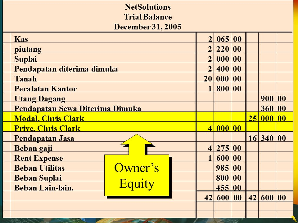 Owner's Equity NetSolutions Trial Balance December 31, 2005