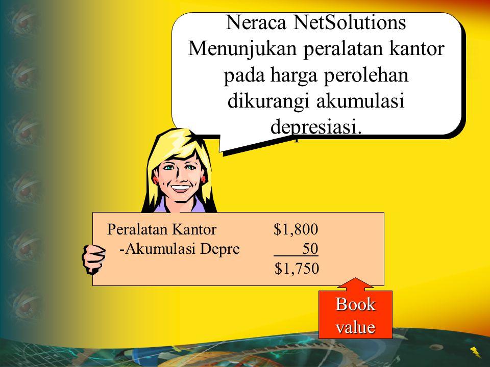 Neraca NetSolutions Menunjukan peralatan kantor pada harga perolehan dikurangi akumulasi depresiasi.