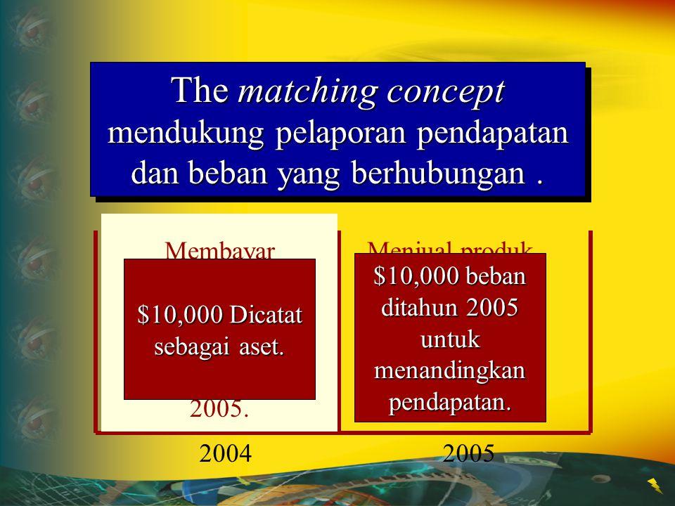 The matching concept mendukung pelaporan pendapatan dan beban yang berhubungan .