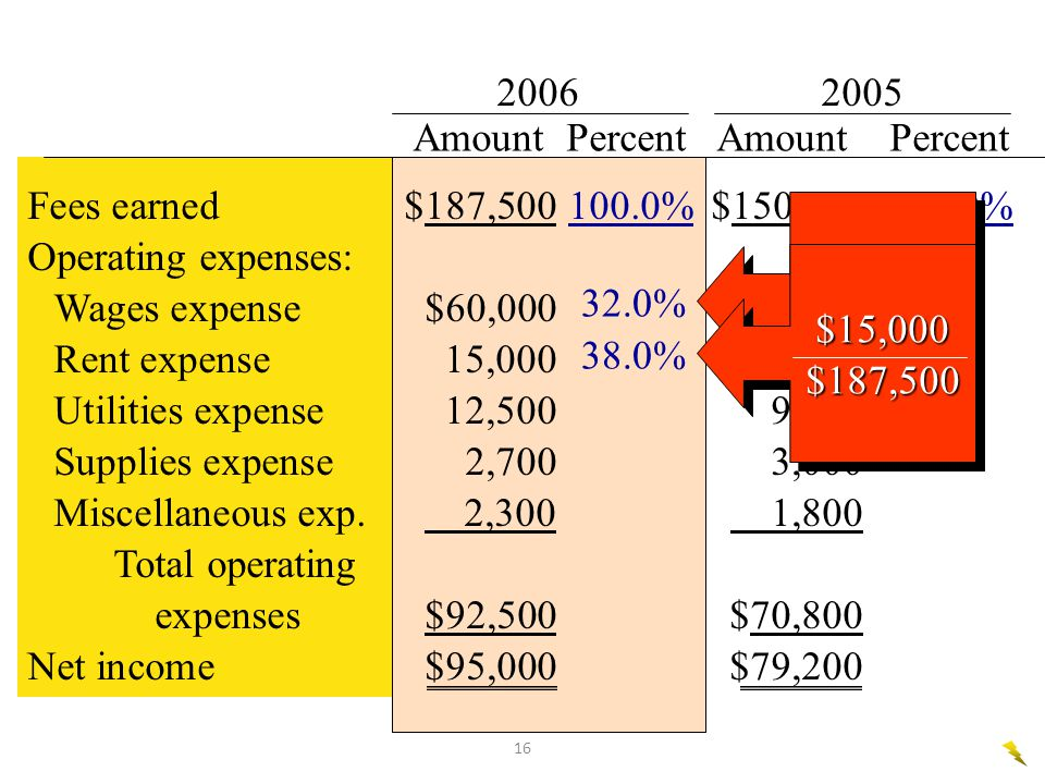 2006 2005 Amount Percent Amount Percent. Fees earned $187,500 100.0% $150,000 100.0%