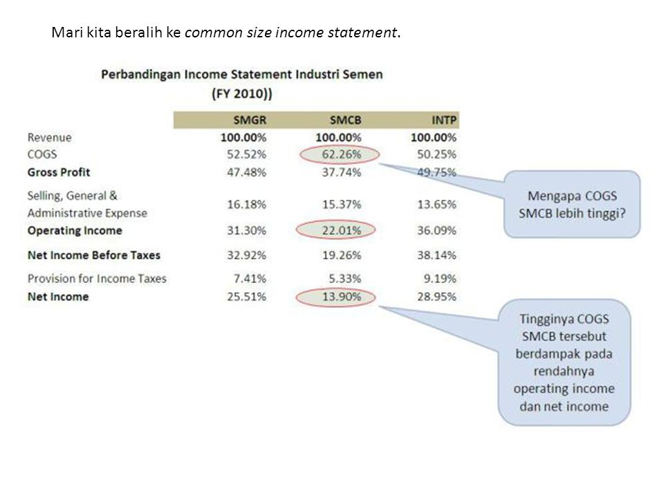 Mari kita beralih ke common size income statement.