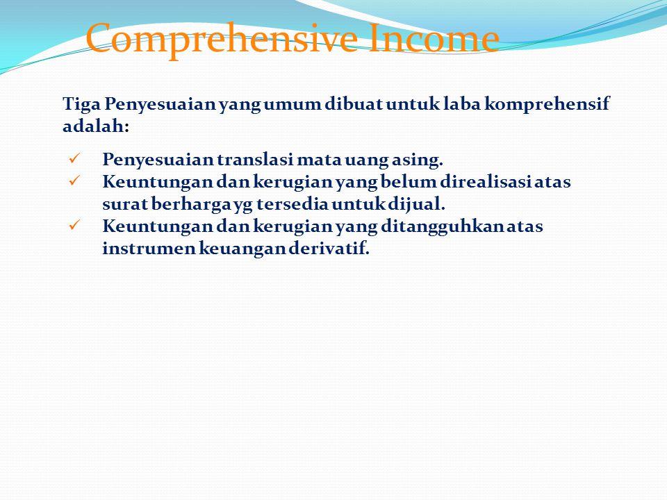 Comprehensive Income Tiga Penyesuaian yang umum dibuat untuk laba komprehensif adalah: Penyesuaian translasi mata uang asing.