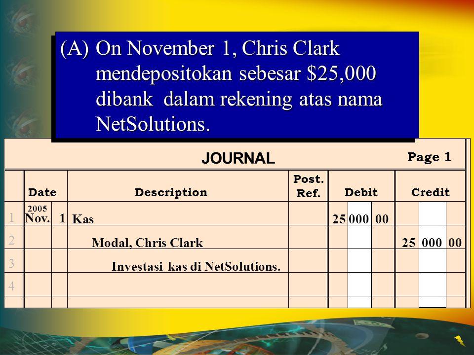 (A) On November 1, Chris Clark mendepositokan sebesar $25,000 dibank dalam rekening atas nama NetSolutions.
