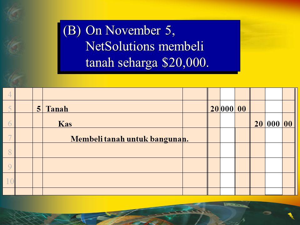 (B) On November 5, NetSolutions membeli tanah seharga $20,000.