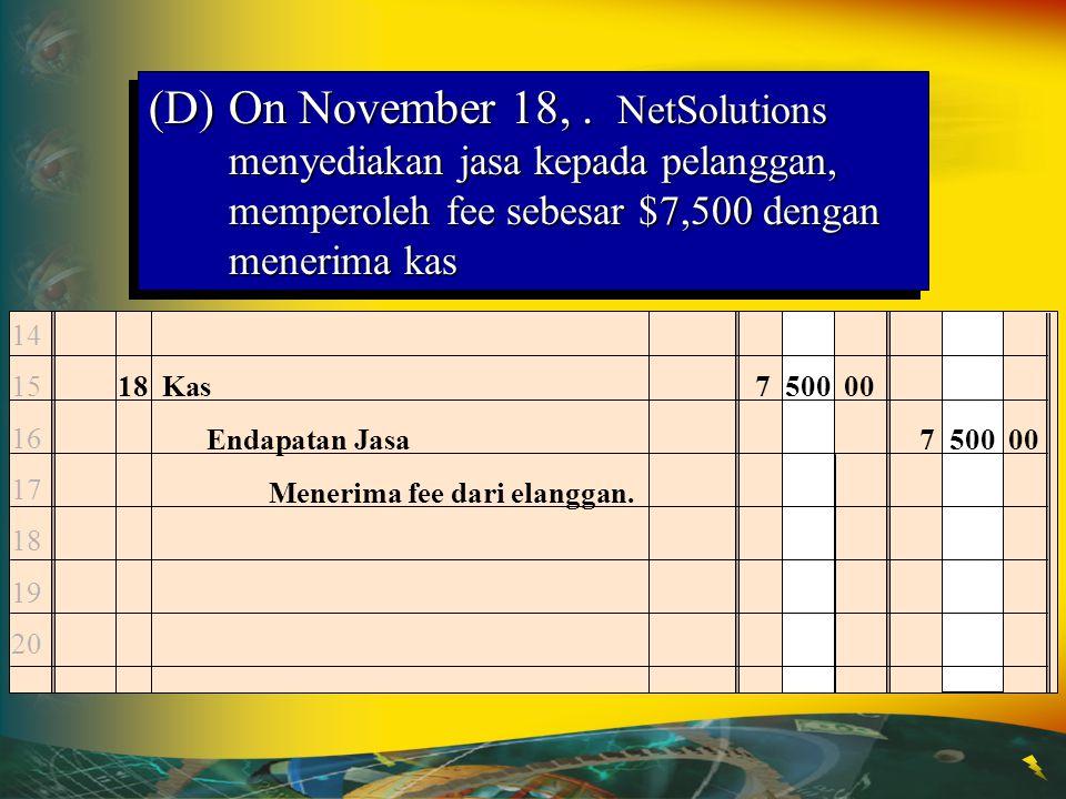 (D) On November 18, . NetSolutions menyediakan jasa kepada pelanggan, memperoleh fee sebesar $7,500 dengan menerima kas