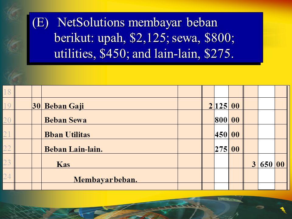 (E) NetSolutions membayar beban berikut: upah, $2,125; sewa, $800; utilities, $450; and lain-lain, $275.