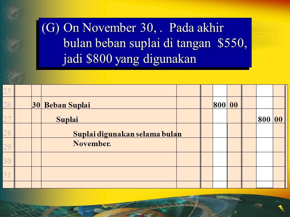 (G) On November 30, . Pada akhir bulan beban suplai di tangan $550, jadi $800 yang digunakan