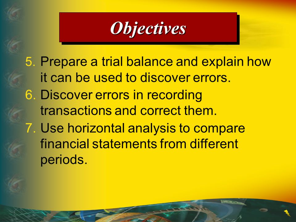 Objectives 5. Prepare a trial balance and explain how it can be used to discover errors.