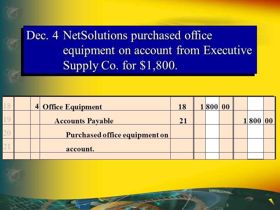 Dec. 4 NetSolutions purchased office equipment on account from Executive Supply Co. for $1,800.