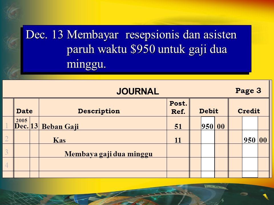 Dec. 13 Membayar resepsionis dan asisten paruh waktu $950 untuk gaji dua minggu.