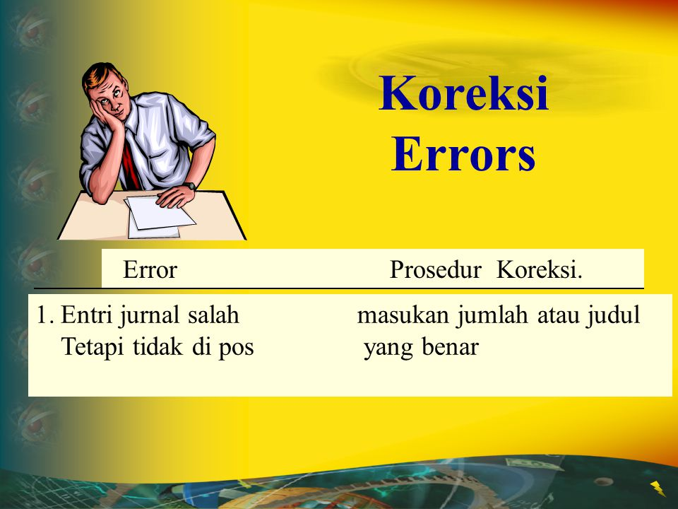 Koreksi Errors 1. Entri jurnal salah masukan jumlah atau judul