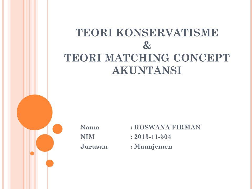 TEORI KONSERVATISME & TEORI MATCHING CONCEPT AKUNTANSI
