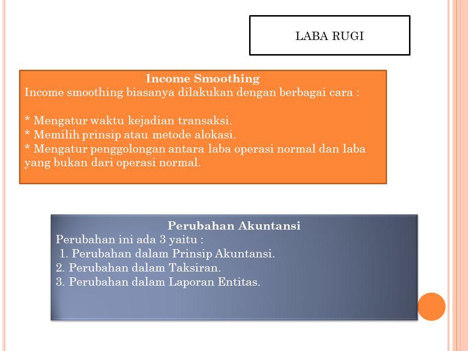 LABA RUGI Income Smoothing. Income smoothing biasanya dilakukan dengan berbagai cara :
