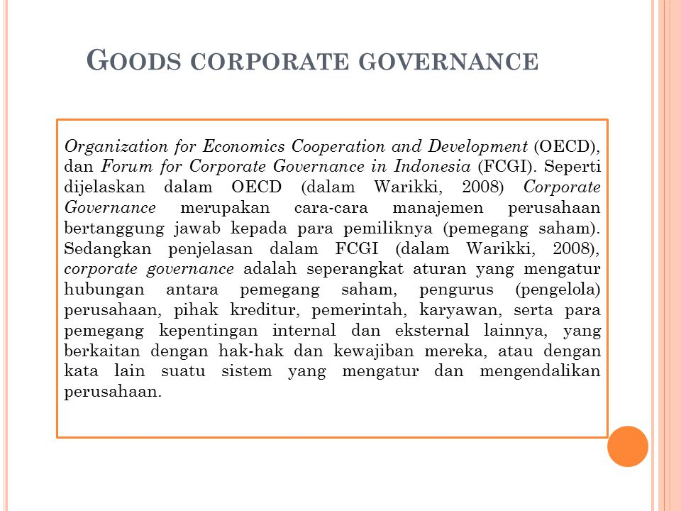 Goods corporate governance