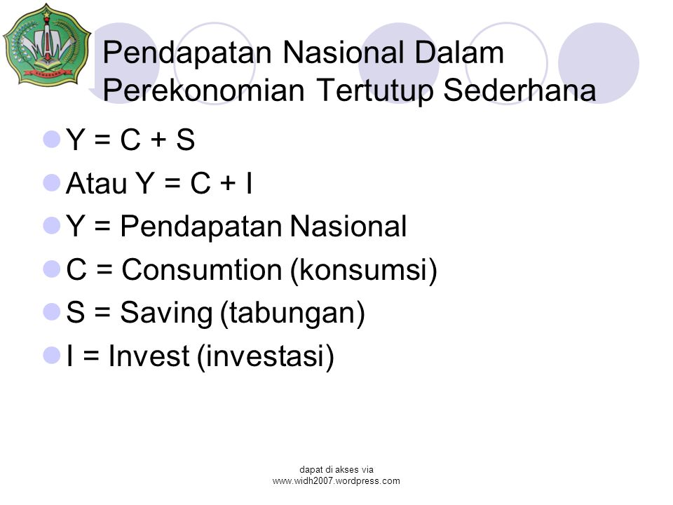 Pendapatan Nasional Dalam Perekonomian Tertutup Sederhana