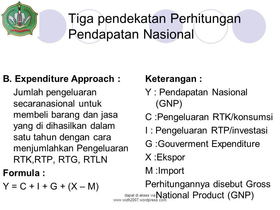 Tiga pendekatan Perhitungan Pendapatan Nasional