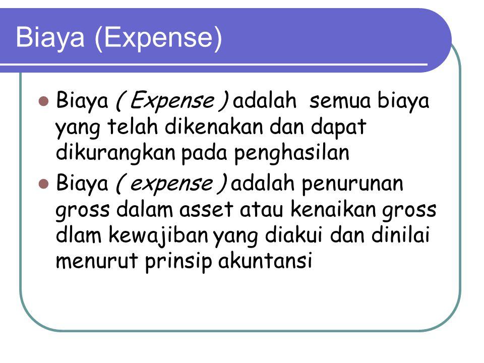 Biaya (Expense) Biaya ( Expense ) adalah semua biaya yang telah dikenakan dan dapat dikurangkan pada penghasilan.