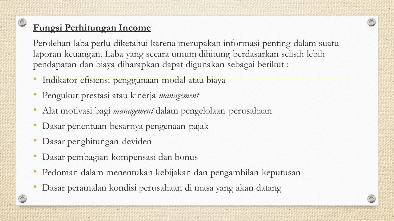 Fungsi Perhitungan Income