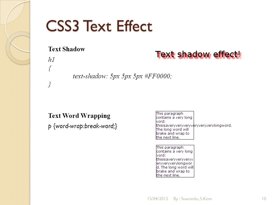 CSS3 Text Effect Text Shadow h1 { text-shadow: 5px 5px 5px #FF0000; } Text Word Wrapping p {word-wrap:break-word;}