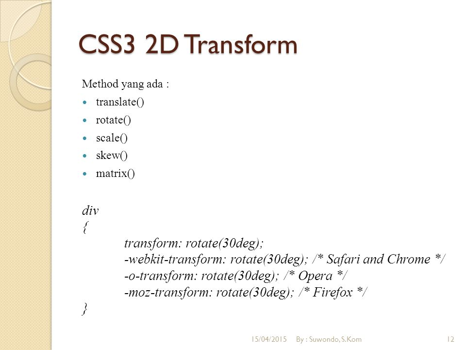 CSS3 2D Transform Method yang ada : translate() rotate() scale() skew() matrix()