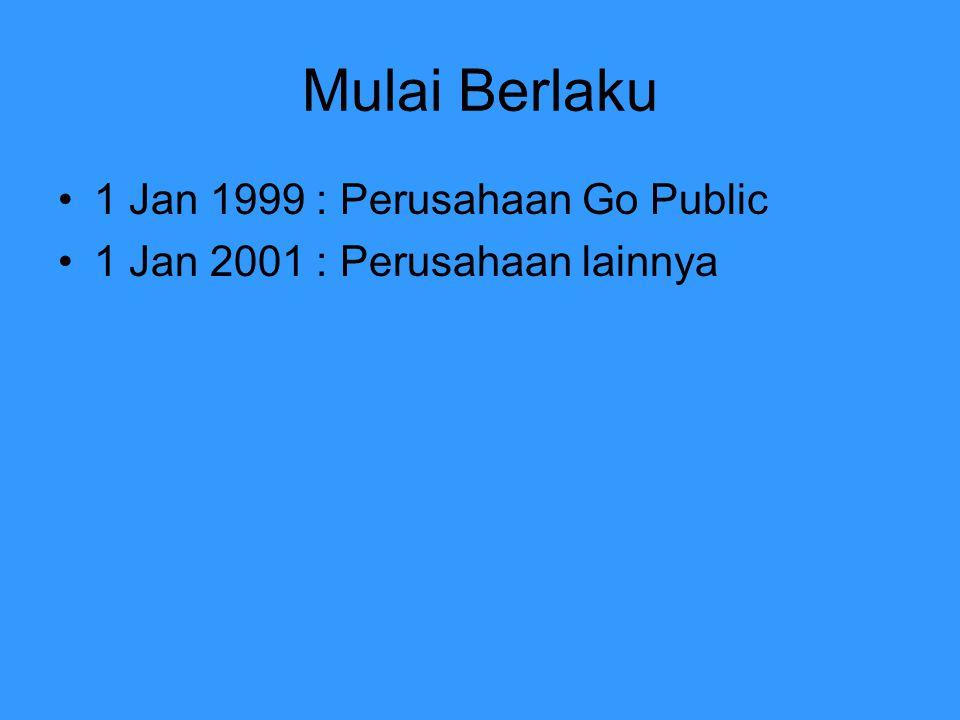 Mulai Berlaku 1 Jan 1999 : Perusahaan Go Public
