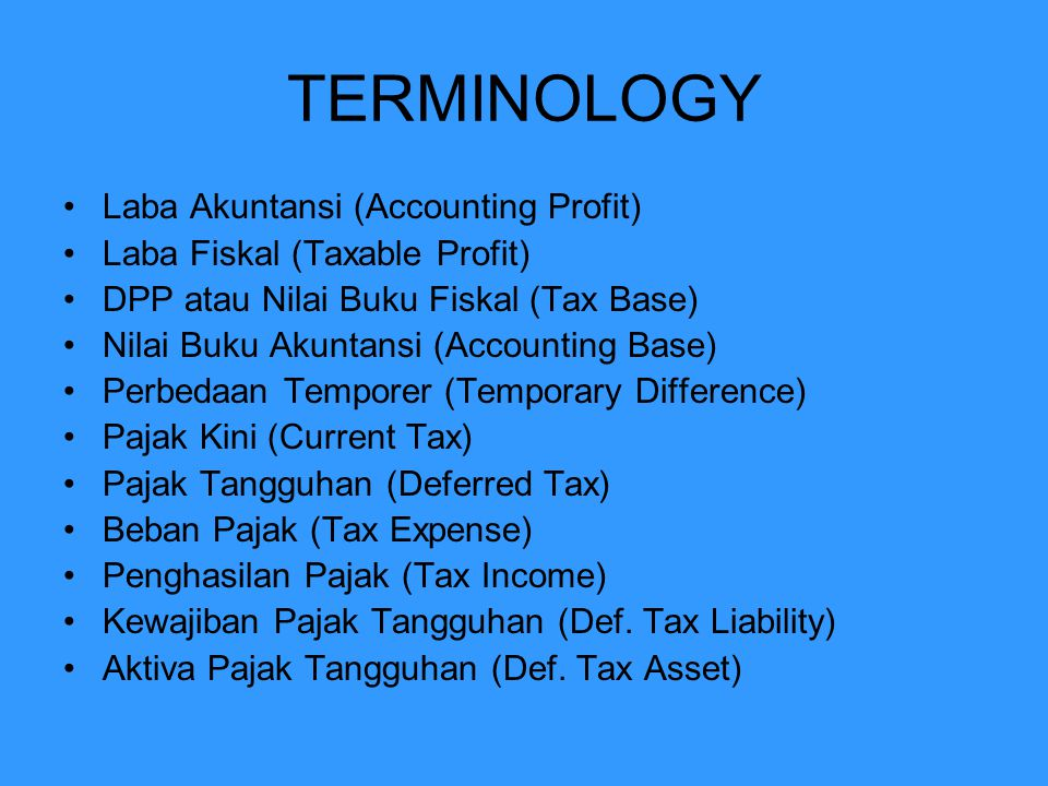 TERMINOLOGY Laba Akuntansi (Accounting Profit)