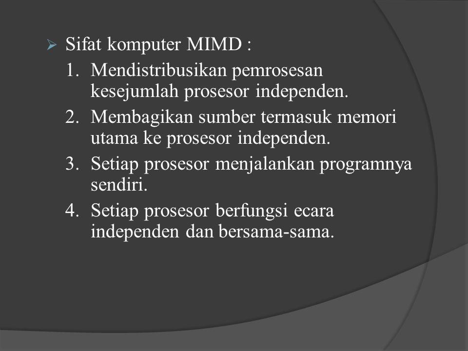 Sifat komputer MIMD : 1. Mendistribusikan pemrosesan kesejumlah prosesor independen.