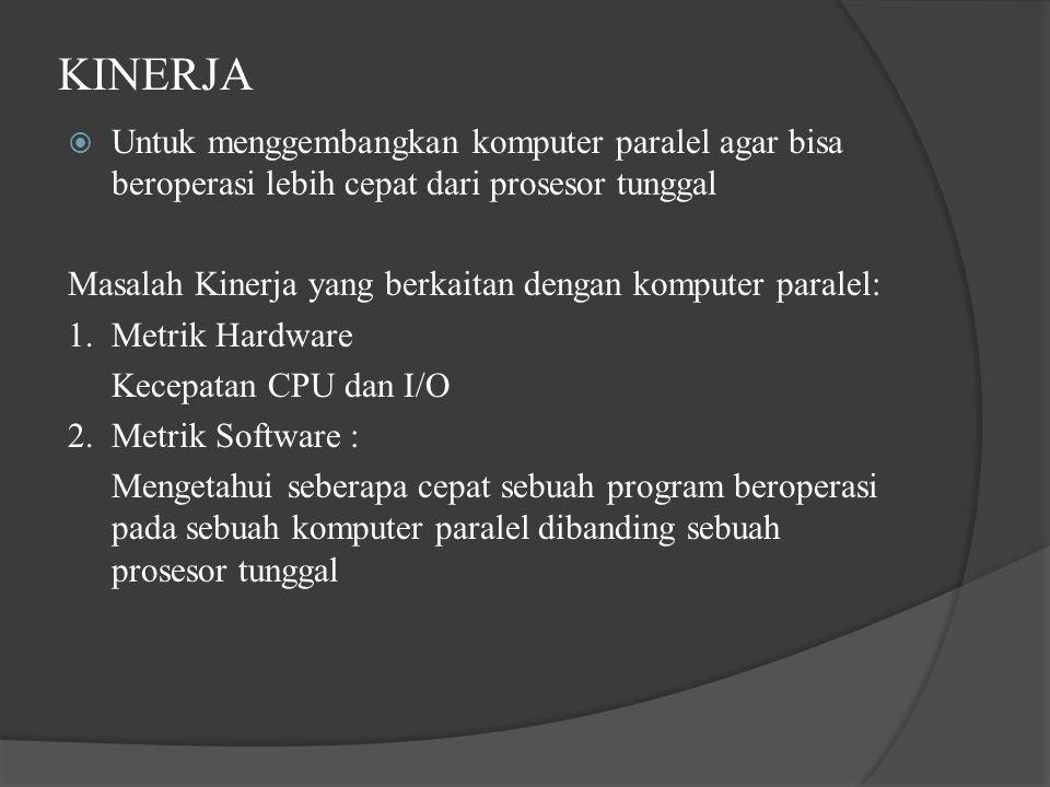 KINERJA Untuk menggembangkan komputer paralel agar bisa beroperasi lebih cepat dari prosesor tunggal.