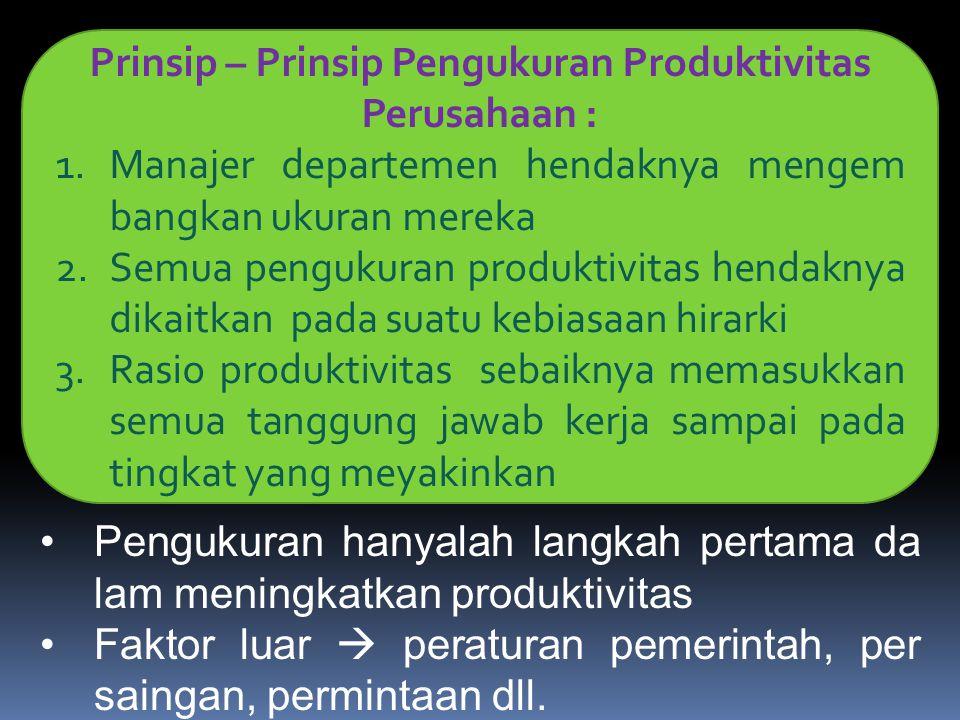 Prinsip – Prinsip Pengukuran Produktivitas Perusahaan :