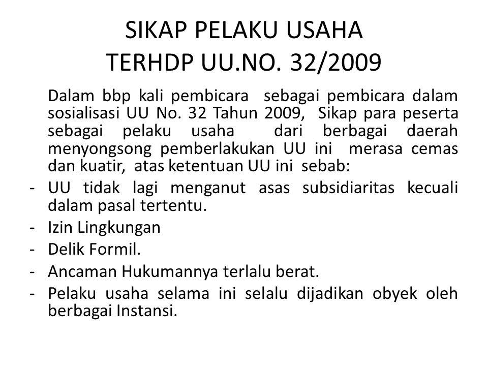 SIKAP PELAKU USAHA TERHDP UU.NO. 32/2009