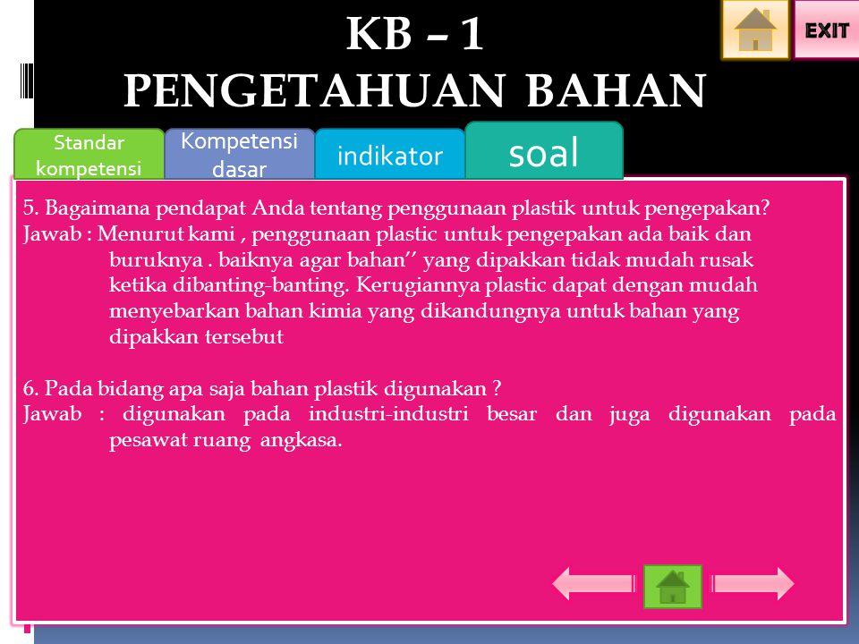 KB – 1 PENGETAHUAN BAHAN soal indikator Kompetensi dasar EXIT