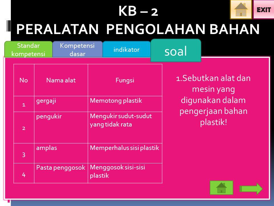 KB – 2 PERALATAN PENGOLAHAN BAHAN