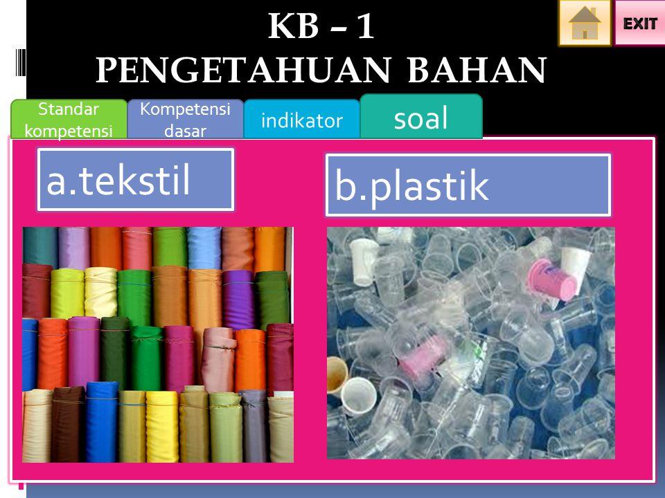 a.tekstil b.plastik KB – 1 PENGETAHUAN BAHAN soal indikator