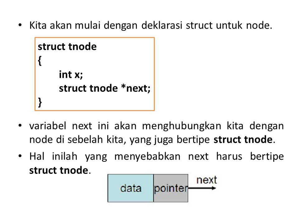 Kita akan mulai dengan deklarasi struct untuk node.