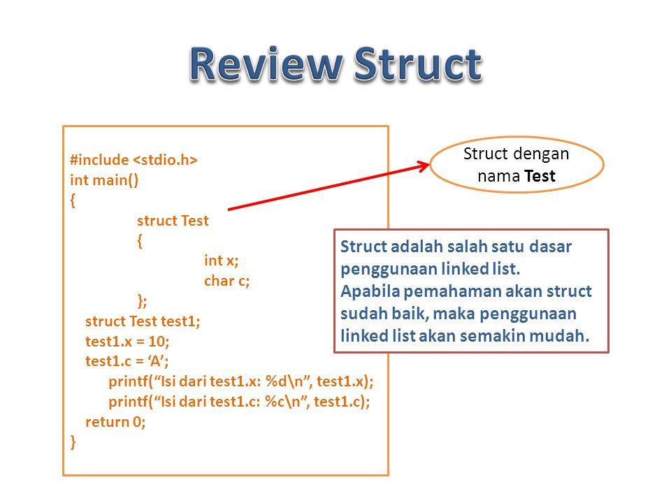 Struct dengan nama Test