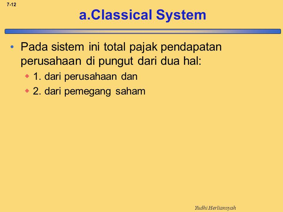 a.Classical System Pada sistem ini total pajak pendapatan perusahaan di pungut dari dua hal: 1. dari perusahaan dan.